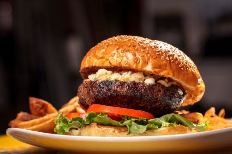 blue cheese topped burger